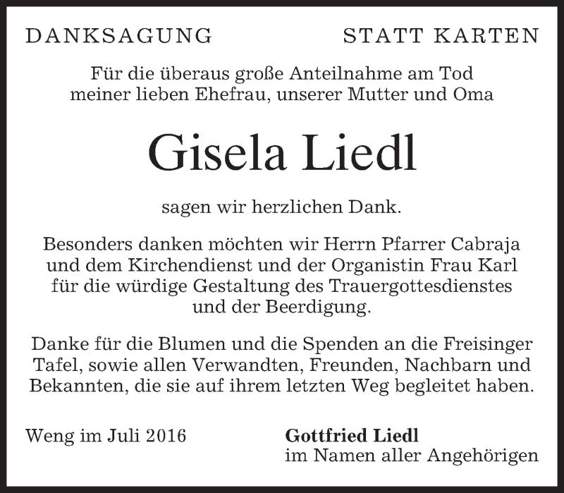 Traueranzeige für Gisela Liedl vom 08.07.2016 aus merkurtz