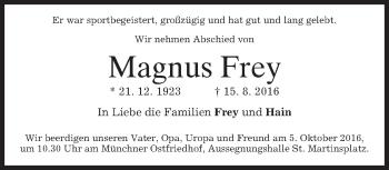Traueranzeige von Magnus Frey von merkurtz
