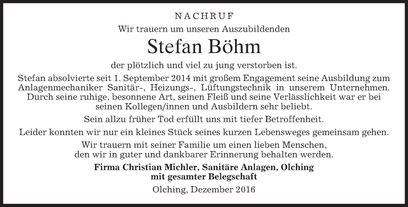Traueranzeige für Stefan Böhm vom 03.01.2017 aus merkurtz