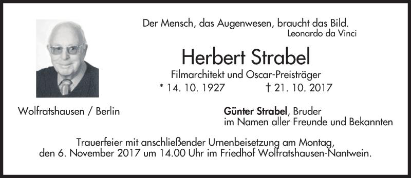 Traueranzeige für Herbert Strabel vom 27.10.2017 aus merkurtz