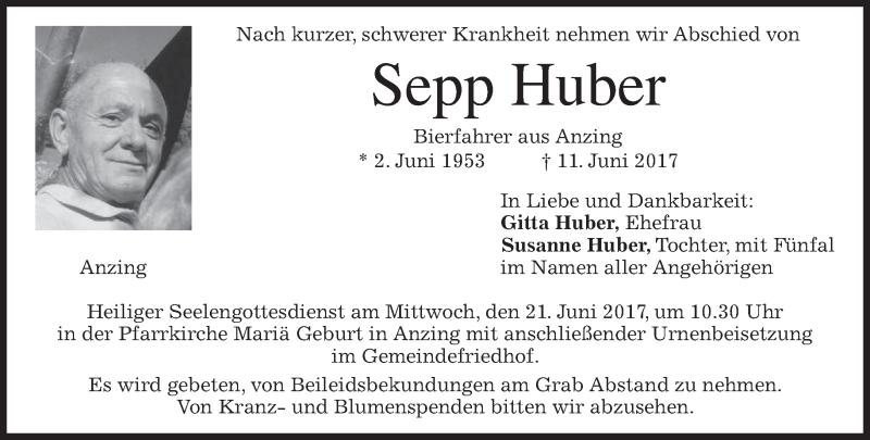 Traueranzeige für Sepp Huber vom 17.06.2017 aus merkurtz