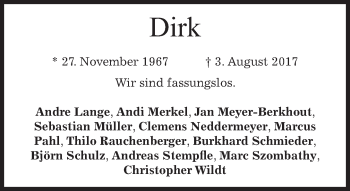 Traueranzeige von Dirk  von merkurtz