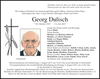 Traueranzeige von Georg Dulisch von merkurtz
