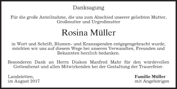 Traueranzeige von Rosina Müller von merkurtz