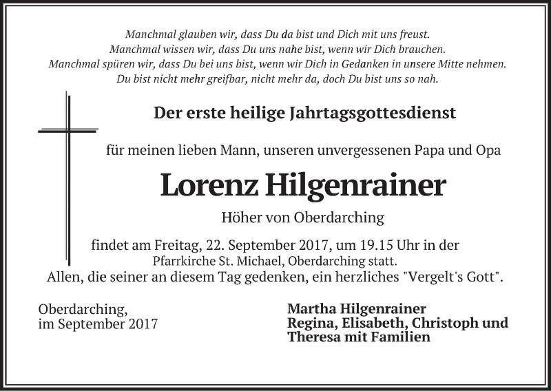 Anzeige von  Lorenz Hilgenrainer