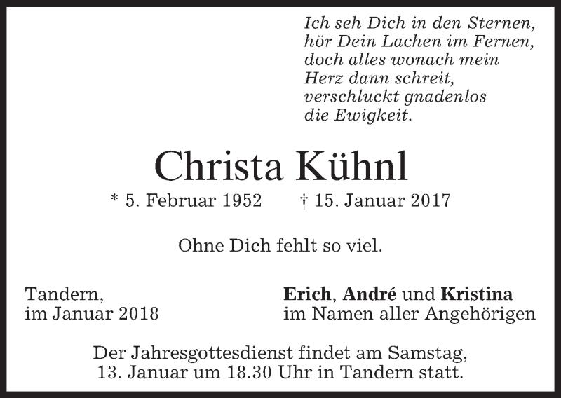 Traueranzeige für Christa Kühnl vom 11.01.2018 aus merkurtz
