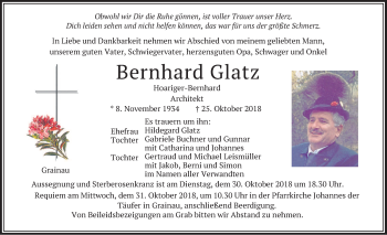 Traueranzeige von Bernhard Glatz von merkurtz