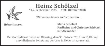 Traueranzeige von Heinz Schölzel von merkurtz