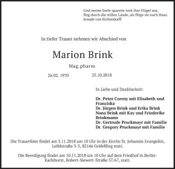 Traueranzeige von Marion Brink von merkurtz