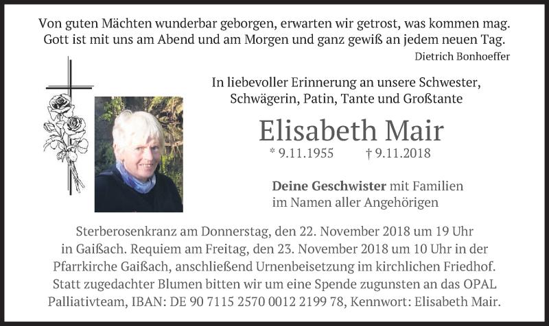 Anzeige von  Elisabeth Mair