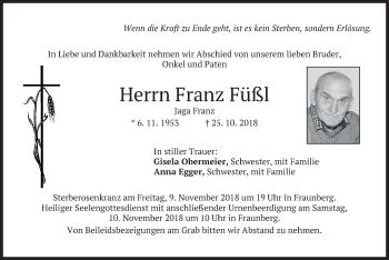 Traueranzeige von Franz Füßl von merkurtz