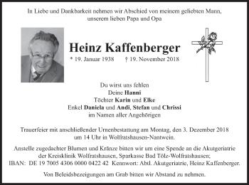 Traueranzeige für Heinz Kaffenberger vom 27.11.2018 aus merkurtz