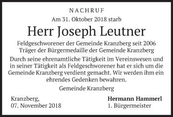 Traueranzeige von Joseph Leutner von merkurtz