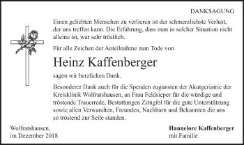 Traueranzeige für Heinz Kaffenberger vom 15.12.2018 aus merkurtz