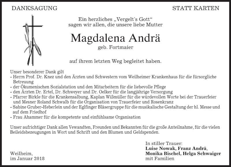 Traueranzeige für Magdalena Andrä vom 03.02.2018 aus merkurtz