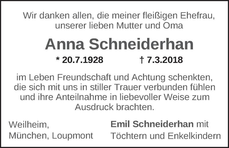 Traueranzeige für Anna Schneiderhan vom 17.03.2018 aus merkurtz