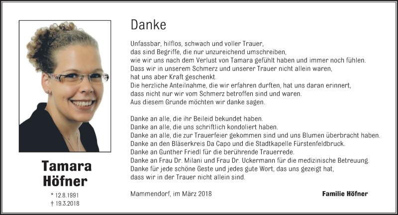 Anzeige von  Tamara Höfner