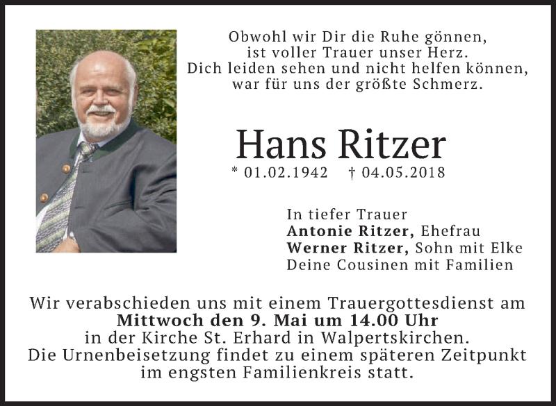 Traueranzeige für Hans Ritzer vom 08.05.2018 aus merkurtz