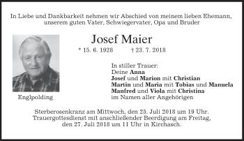 Traueranzeigen von Josef Maier |
