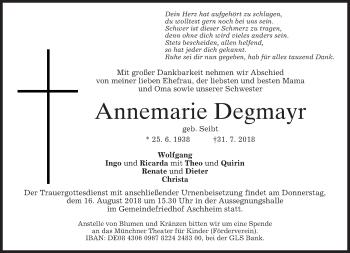 Traueranzeige von Annemarie Degmayr von merkurtz