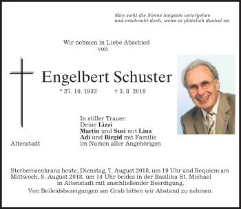 Traueranzeige von Engelbert Schuster von merkurtz