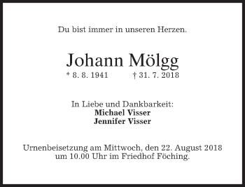 Traueranzeige von Johann Mölgg von merkurtz