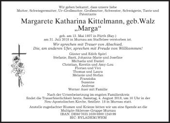 Traueranzeige von Margarete Katharina Kittelmann von merkurtz