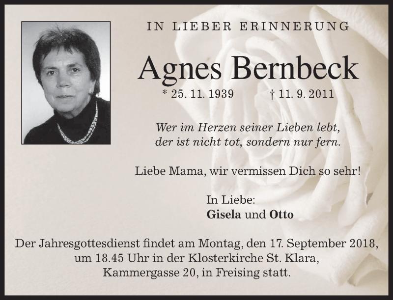 Anzeige von  Agnes Bernbeck