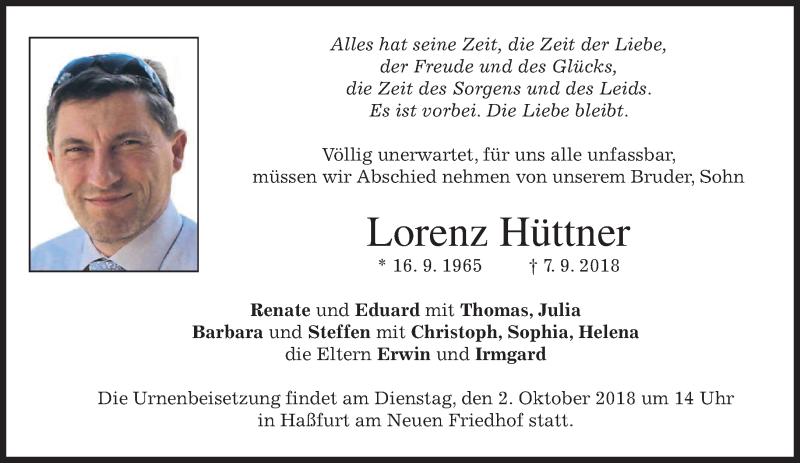 Traueranzeige für Lorenz Hüttner vom 29.09.2018 aus merkurtz