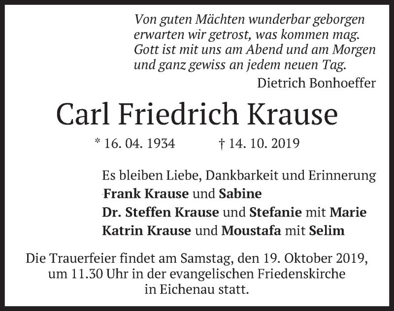 Traueranzeigen Von Carl Friedrich Krause Trauermerkurde