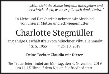 Traueranzeige von Charlotte Stegmüller von merkurtz
