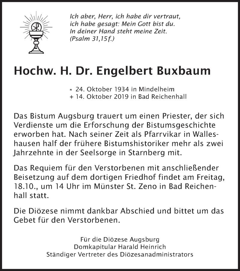 Traueranzeige für Engelbert Buxbaum vom 17.10.2019 aus merkurtz
