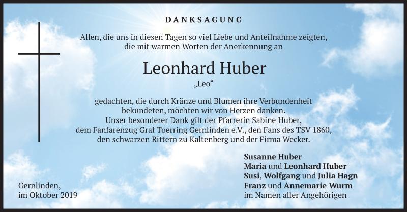Traueranzeige für Leonhard Huber vom 12.10.2019 aus merkurtz