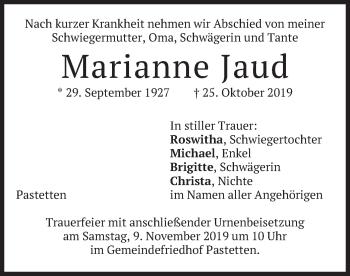 Traueranzeige von Marianne Jaud von merkurtz