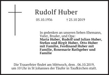 Traueranzeige von Rudolf Huber von merkurtz