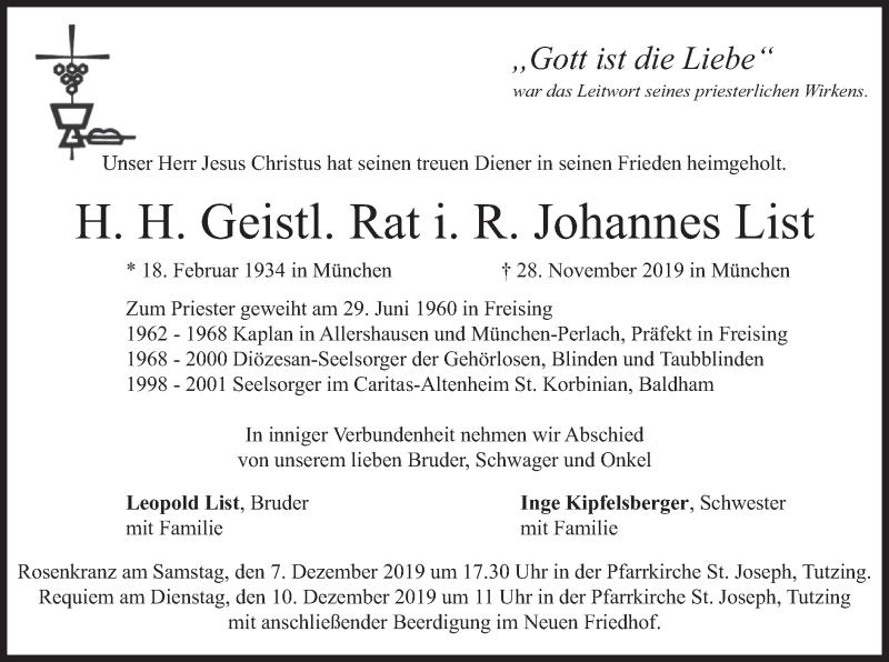 Traueranzeige für Johannes List vom 03.12.2019 aus merkurtz