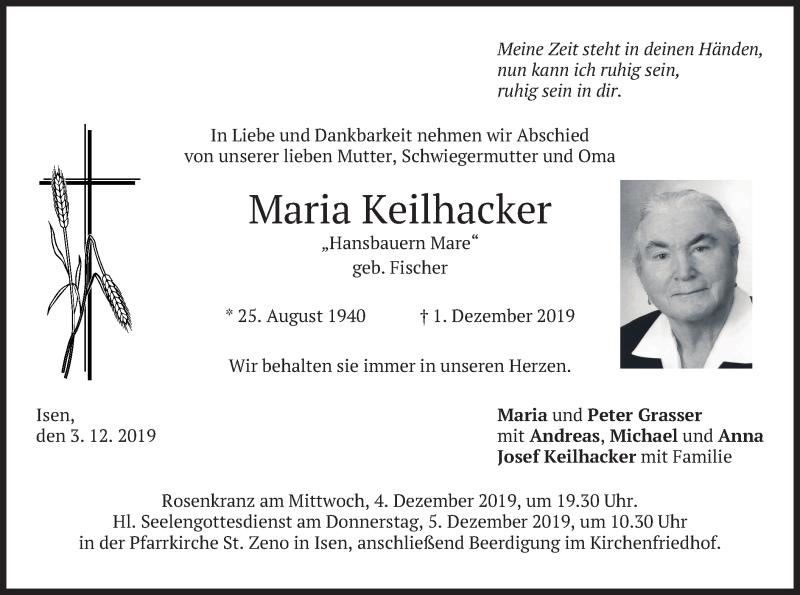 Traueranzeige für Maria Keilhacker vom 03.12.2019 aus merkurtz