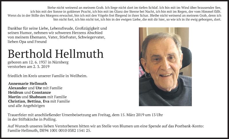 Traueranzeige für Berthold Hellmuth vom 11.03.2019 aus merkurtz
