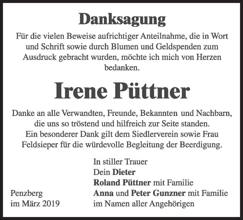 Traueranzeige für Irene Püttner vom 16.03.2019 aus merkurtz