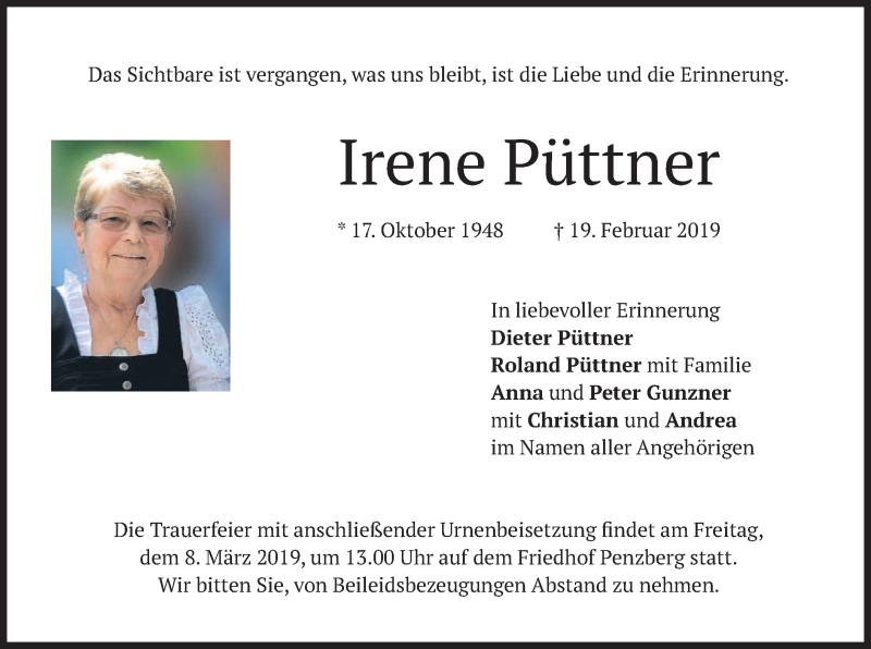 Traueranzeige für Irene Püttner vom 02.03.2019 aus merkurtz