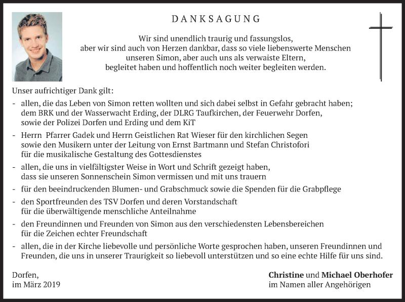 Traueranzeige für Simon Oberhofer vom 23.03.2019 aus merkurtz