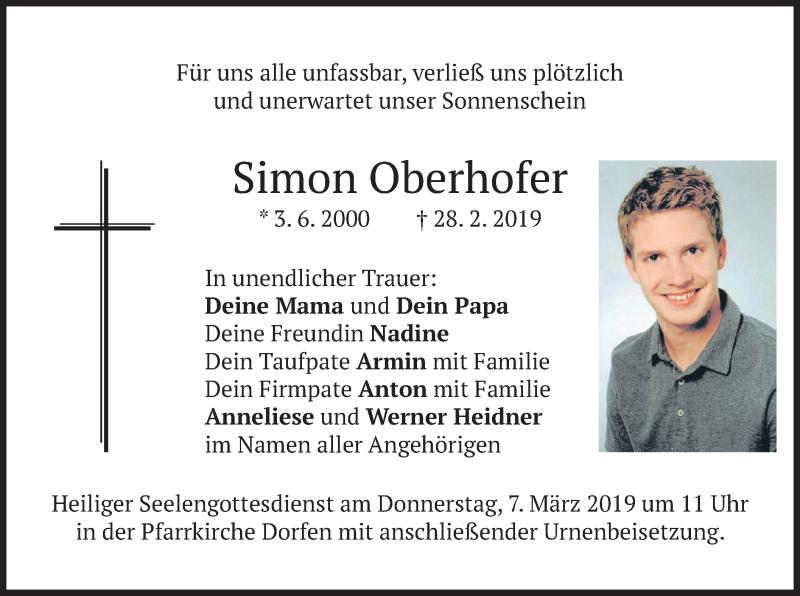Traueranzeige für Simon Oberhofer vom 05.03.2019 aus merkurtz