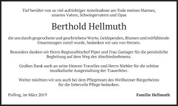 Traueranzeige für Berthold Hellmuth vom 03.04.2019 aus merkurtz