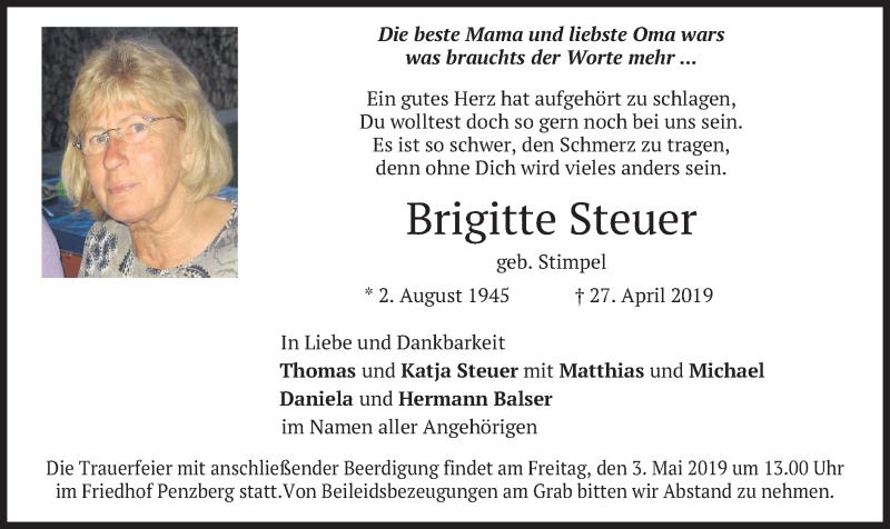Traueranzeige für Brigitte Steuer vom 30.04.2019 aus merkurtz