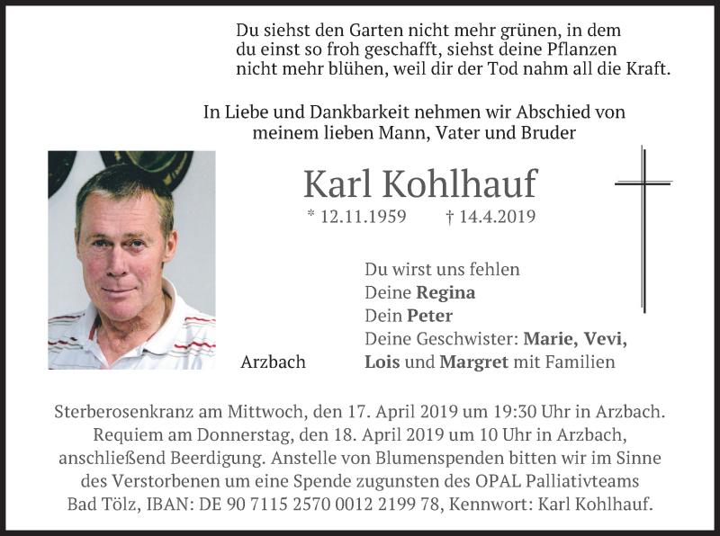 Traueranzeige für Karl Kohlhauf vom 16.04.2019 aus merkurtz