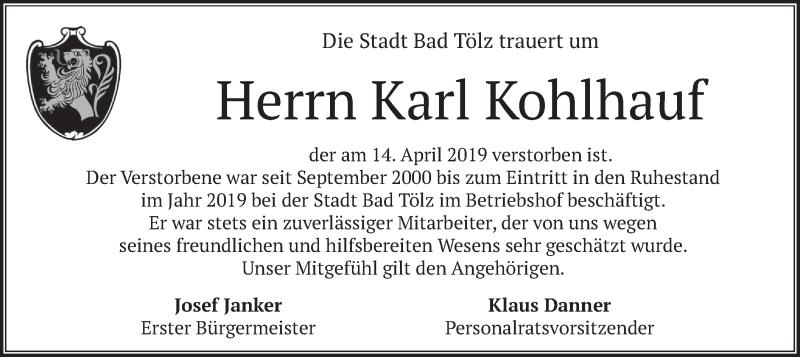 Traueranzeige für Karl Kohlhauf vom 20.04.2019 aus merkurtz