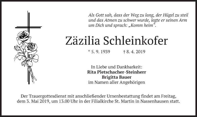 Traueranzeige für Zäzilia Schleinkofer vom 27.04.2019 aus merkurtz