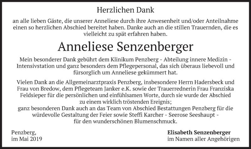 Traueranzeige für Anneliese Senzenberger vom 18.05.2019 aus merkurtz