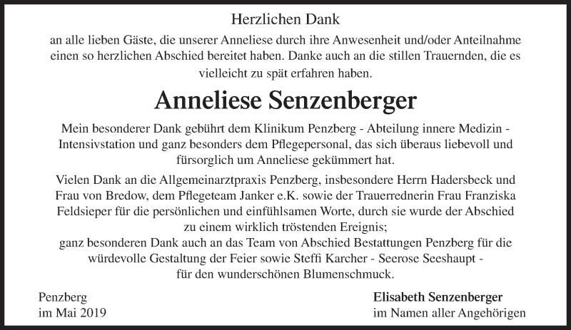 Traueranzeige für Anneliese Senzenberger vom 18.05.2019 aus Das Gelbe Blatt Penzberg