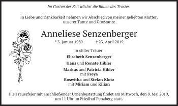Traueranzeige für Anneliese Senzenberger vom 04.05.2019 aus merkurtz